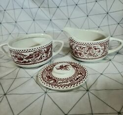 Memory Lane Red Acorn Red/white Royal Ironstone Creamer And Sugar Bowl W/ Cover