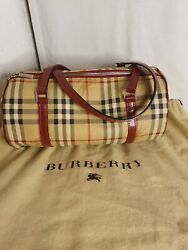 Authentic Burberry Red Leather Canvas Barrel Bag $685.00