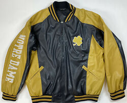 Ncaa Notre Dame Faux Leather Jacket Steve And Barrys Size L Zip Bomber