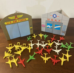 Vintage Wwii Minature Plastic Toy Airplane Jet Fighter Set 30 Paper Buildings