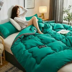 Washed Japanese Style Thicken Duvet 3d Black Side Winter Quilts Cover Blanket
