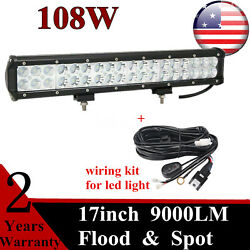 17inch 108w Led Combo Beam Light Bar Dual Row+wiring Harness F250 Chevy Boat 4wd
