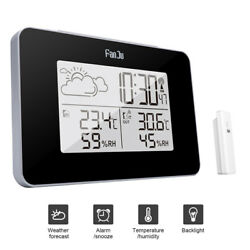 Wireless Weather Station Digital Clock Humidity Outdoor Thermometer Sens Wy I-