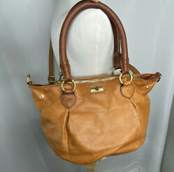 J.CREW Brown Genuine Leather Turn Lock Shoulder Handbag Hobo Purse Style# 63020 $18.00
