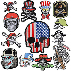 Choco Mocha 12pcs Skull Patches For Jackets Men Iron On Patch For Clothing For