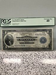 1918 1 Atlanta Federal Reserve Bank Note Green Eagle Pcgs 40 Extremely Fine