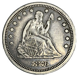 1876-cc Liberty Seated Quarter Ef Uncertified