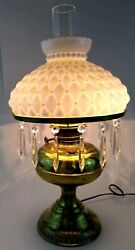 Rayo Vintage Brass Milk Glass Crystal Icicle Prism Quilted Oil Hurricane Boudior