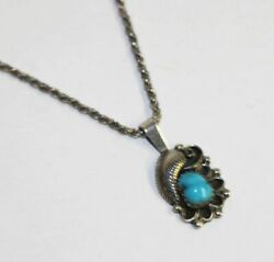 Vintage Estate Leaf Floral Sterling Silver Turquoise Pendant And 16 Rope Chain