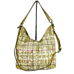Coach Tattersall Purse Gold Graffiti Hobo Bag Canvas Handbag with strap F13309 $49.99