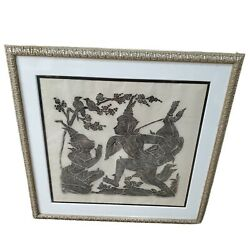 Vintage Framed Matted Asian Thai Cambodian Temple Stone Rubbing 26x28 Sacrafice