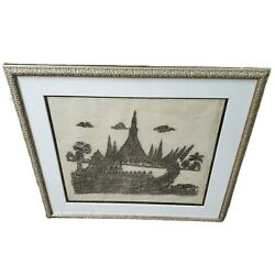 Vintage Framed Matted Asian Thai Cambodian Temple Stone Rubbing 26x28 Ship Boat