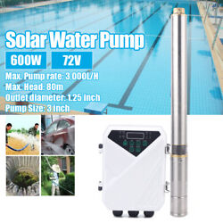 New 72v Solar Powered Submersible Water Pump 600w 3000l/h For Fountain Pool Usa