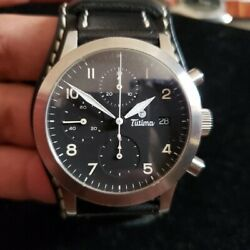 Tutima Fx Chronograph Automatic Steel Leather Date German Mens Watch 39mm W/ Box