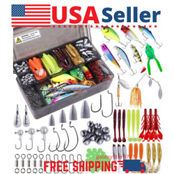 189pc Fishing Bait/tackle Kit Crankbait Spinnerbait Worms Jigs Topwater Lure Box