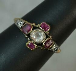 Rare Early Georgian 18ct Gold Table Cut Diamond And Ruby Ring C1770 D0389