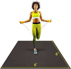 Large Exercise Mat 6'x6'x7mm | Workout Mat For Home | Durable Home Gym Flooring
