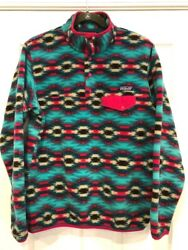 Snap-t Womens Medium Pullover Wild Desert Aztec Synchilla Fleece Euc