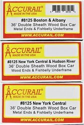 Accurail 8125 New York Central System 36' Double-sheathed Wood Boxcar 3-pack Kit