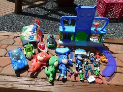 Pj Masks Figure Vehicle And Accessory Lot Headquarters Playset Plush And More