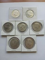 Lot Of 7 Kennedy Silver Half Dollars 1964 D Bu 1968 D Au + 1967 And 4 1968 D Nice