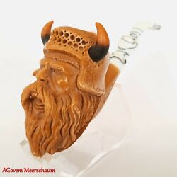 Viking Warrior Block Meerschaum Pipes, Carved Smoking Pipe, Tobacco, Agm422