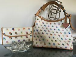 Authentic vintage Dooney and Bourke white Multi Color Satchel With Wallet Clutch $95.00