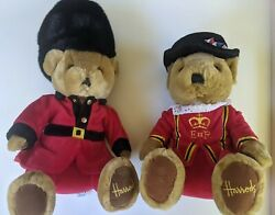 Pair Of Vintage Harrods Bears 11 Beefeater And 14 Queens Royal Guard