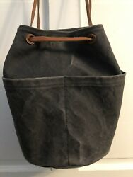 Madewell Blue Canvas And Leather Bucket Bag Backpack $44.00