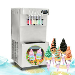 Commercial 5 Flavors Soft Ice Cream Maker, 3+2 Mixed Soft Serve Ice Machine