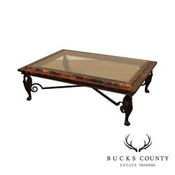 Maitland Smith Large Glass Top Faux Tortoise Shell Coffee Table Bronze Swan Legs