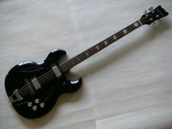 First Man Baron Bizarre 4 Strings Black Semi-acoustic Guitar Sold As Is