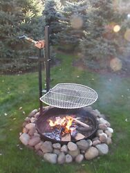 Universal Stainless Steel Bbq Campfire Grill W/ Popcorn Popper And Fire Ring