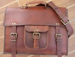 Vintage Men#x27;s Genuine Goat Leather Messenger Bags CrossBody Handbag Shoulder Bag $48.00