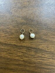 Lot Of 2 Vintage 14kt Yellow Gold Natural Pearl Charms Pendants For Hoop Earring