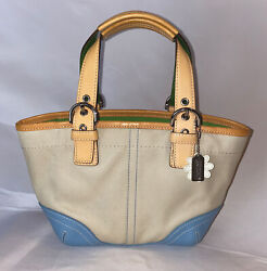 COACH Beige Blue Small Tote Bag w Daisy Keychain Pre Owned $45.00
