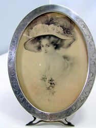 Excellent Bright Cut Oval Picture Frame Deitsch Sterling Silver 1904 - 1915