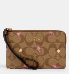 COACH Corner Zip Wristlet In Signature Canvas With Butterfly Print 2972 $49.00