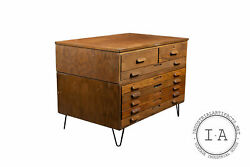 Industrial Antique Two Section Hairpin Leg Flat File By Hamilton