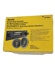 Sears Vintage Auto- Stop Cassette Radio And Kraco 5andrdquo Dual Cone Slimline Speakers
