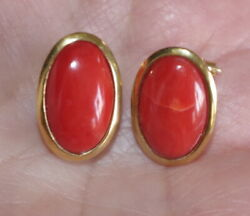 Antique 18k Italian Red Coral Large Dome 20 Mm Bezel Set Stud Earrings