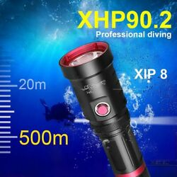 600000lm Diving Led Flashlight Usb Rechargeable Waterproof Underwater Lantern