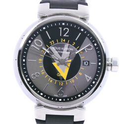 Louis Vuitton Q1d31 Tambour Gmt Watches Yellow/black Stainless Steel/leath...