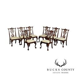 'mahogany Collection' Chippendale Style Set 8 Ball And Claw Dining Chairs