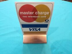 Vintage Visa Master Charge Mastercard Counter Display With Stand Dbl Sided Look