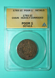1793 Flowing Hair Chain Cent - Anacs Poor 1 Details - Heavily Corroded - 1c