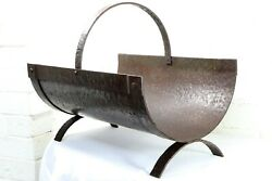 An Antique English Log Scuttle Bin Arts And Crafts Hammered Steel Blacksmith Made