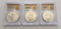 2018 - W Burnished Silver Eagles Pcgs Sp70 First Day Issue Gold Foil 3-coin Set