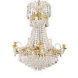 Antique 6 Arm Crystal Empire Chandelier With Different Cut Crystals 1900and039s