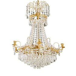 Antique 6 Arm Crystal Empire Chandelier With Different Cut Crystals 1900's